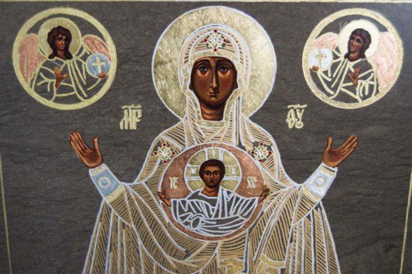 Икона Знамение Божией Матери № 1 из мрамора (Оранта), камня, изображение, фото 2