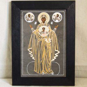 Икона Знамение Божией Матери № 2 из мрамора (Оранта), камня, изображение, фото 1
