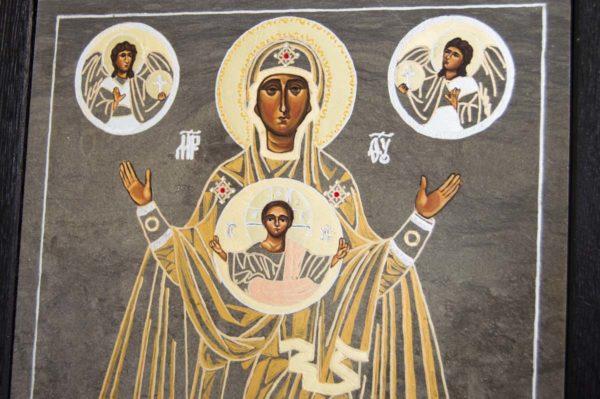 Икона Знамение Божией Матери № 2 из мрамора (Оранта), камня, изображение, фото 5