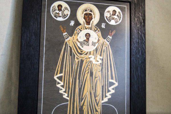 Икона Знамение Божией Матери № 2 из мрамора (Оранта), камня, изображение, фото 4
