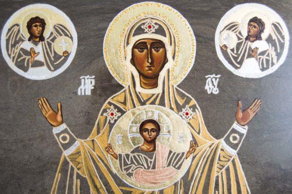 Икона Знамение Божией Матери № 2 из мрамора (Оранта), камня, изображение, фото 3