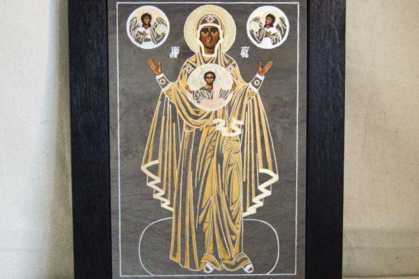 Икона Знамение Божией Матери № 2 из мрамора (Оранта), камня, изображение, фото 2