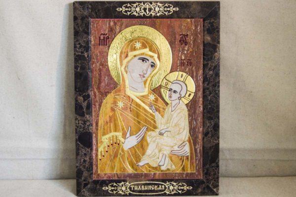 Икона Тихвинской Божией Матери № 1-12,7 из мрамора, камня, изображение, фото 2