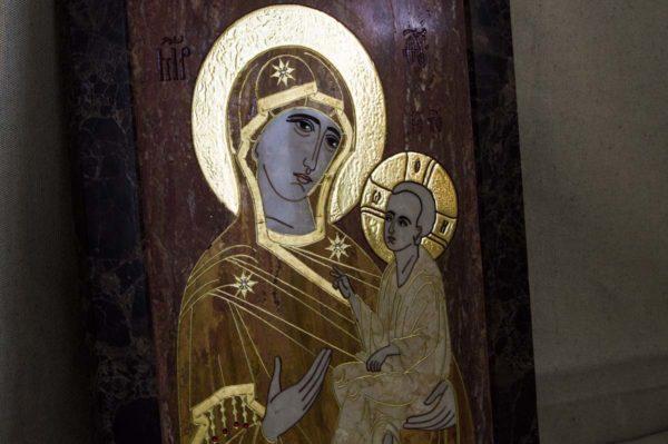 Икона Тихвинской Божией Матери № 1-12,7 из мрамора, камня, изображение, фото 5