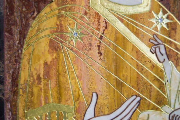 Икона Тихвинской Божией Матери № 1-12,7 из мрамора, камня, изображение, фото 1