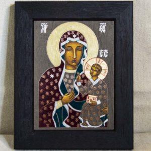 Икона Ченстоховской Божией Матери № 02 из мрамора, каталог икон, изображение, фото 3