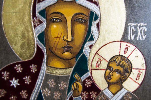Икона Ченстоховской Божией Матери № 02 из мрамора, каталог икон, изображение, фото 2