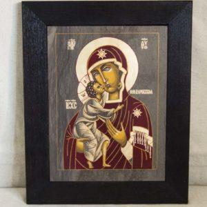 Икона Феодоровской Божией Матери № 1 из мрамора, камня, изображение, фото 1