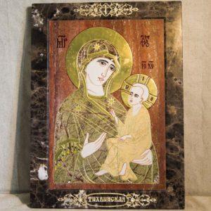 Икона Тихвинской Божией Матери № 1-12,1 из мрамора, камня, изображение, фото 1