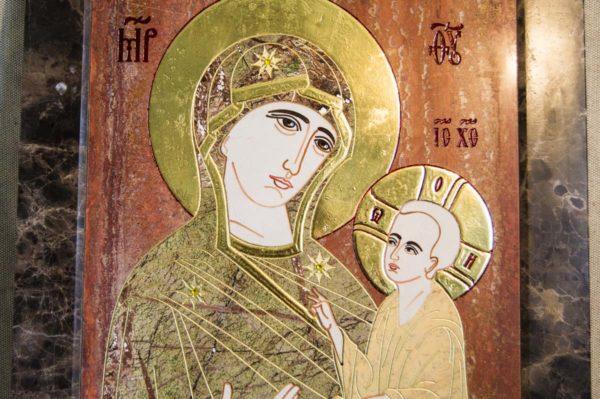 Икона Тихвинской Божией Матери № 1-12,1 из мрамора, камня, изображение, фото 5
