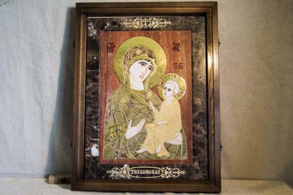Икона Тихвинской Божией Матери № 1-12,1 из мрамора, камня, изображение, фото 2