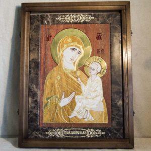 Икона Тихвинской Божией Матери № 1-12,3 из мрамора, камня, изображение, фото 1