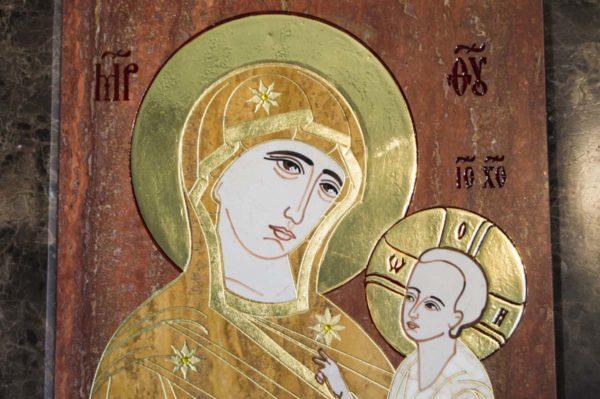 Икона Тихвинской Божией Матери № 1-12,3 из мрамора, камня, изображение, фото 4