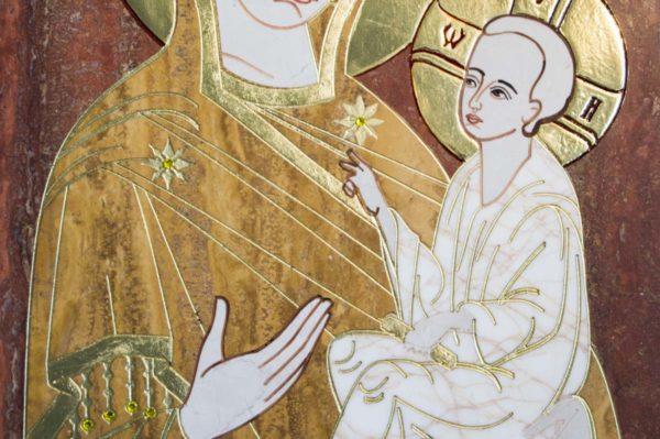 Икона Тихвинской Божией Матери № 1-12,3 из мрамора, камня, изображение, фото 6