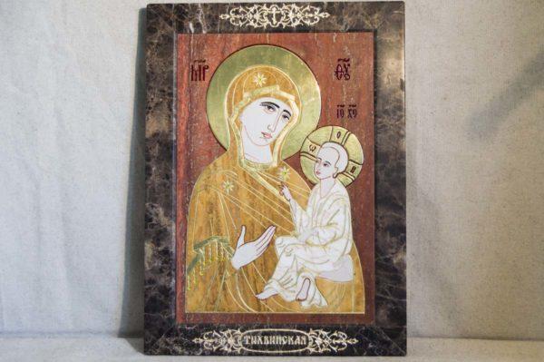 Икона Тихвинской Божией Матери № 1-12,3 из мрамора, камня, изображение, фото 7