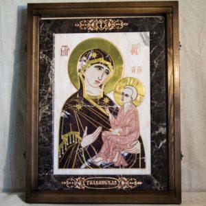 Икона Тихвинской Божией Матери № 1-12,4 из мрамора, камня, изображение, фото 1