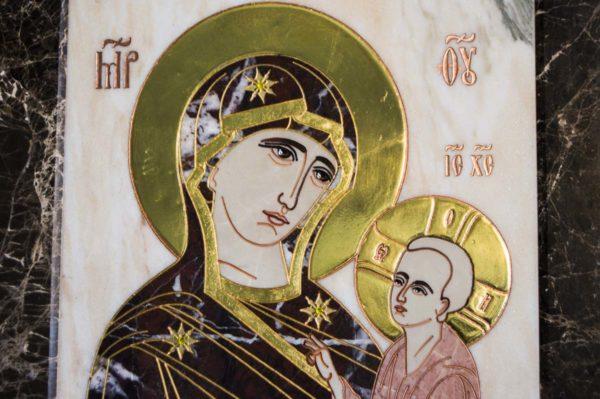Икона Тихвинской Божией Матери № 1-12,4 из мрамора, камня, изображение, фото 6