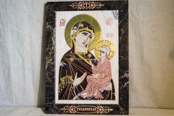 Икона Тихвинской Божией Матери № 1-12,4 из мрамора, камня, изображение, фото 2
