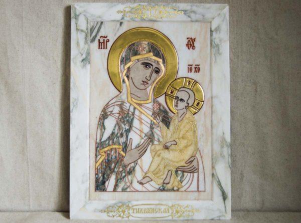 Икона Тихвинской Божией Матери № 1-12,6 из мрамора, камня, изображение, фото 5