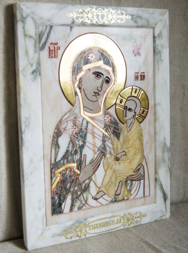 Икона Тихвинской Божией Матери № 1-12,6 из мрамора, камня, изображение, фото 3