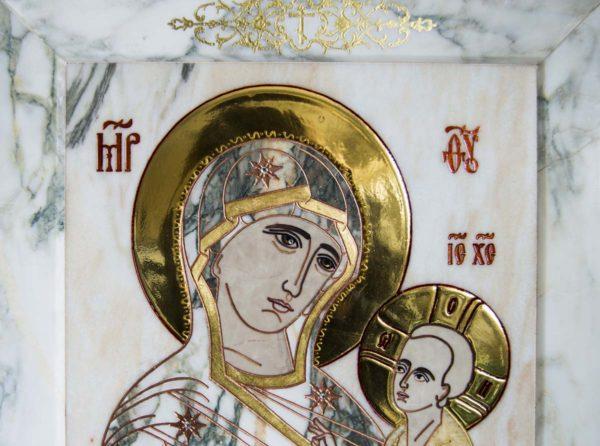 Икона Тихвинской Божией Матери № 1-12,6 из мрамора, камня, изображение, фото 4
