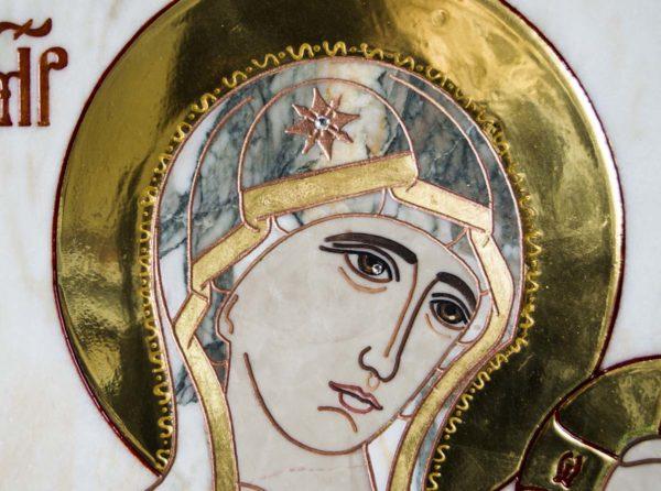 Икона Тихвинской Божией Матери № 1-12,6 из мрамора, камня, изображение, фото 1