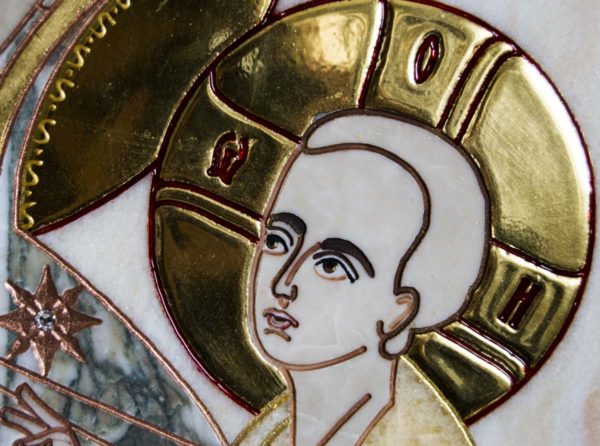 Икона Тихвинской Божией Матери № 1-12,6 из мрамора, камня, изображение, фото 6