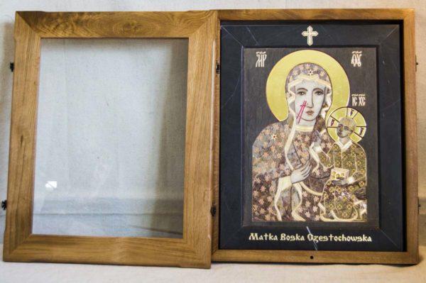 Икона Ченстоховской Божией Матери № 1-12,2 из мрамора, каталог икон, изображение, фото 1