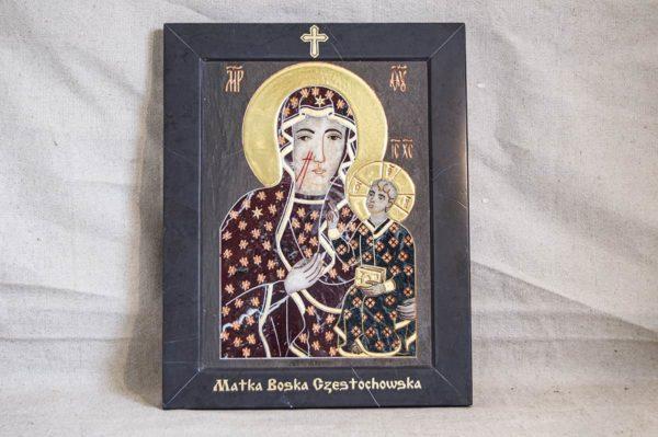 Икона Ченстоховской Божией Матери № 1-12,6 из мрамора, каталог икон, изображение, фото 1