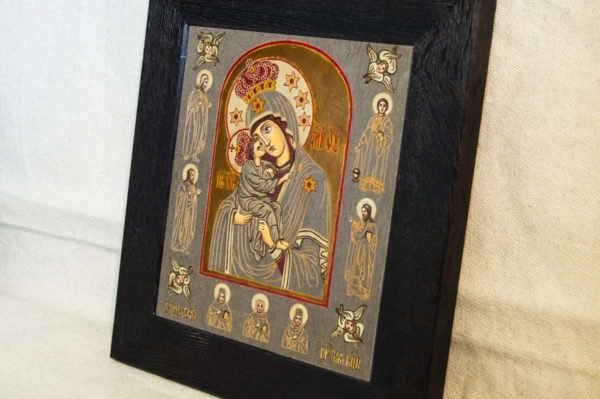 Икона Почаевской Божией Матери № 3 из мрамора, камня, изображение, фото 2