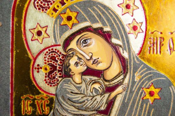Икона Почаевской Божией Матери № 3 из мрамора, камня, изображение, фото 5