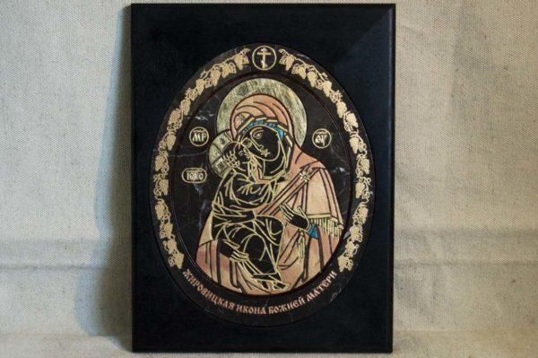 Икона Жировицкой (Жировичской) Божией Матери № 017 из мрамора, камня, изображение, фото 3