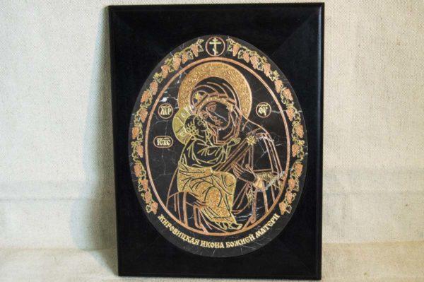Икона Жировицкой (Жировичской) Божией Матери № 018 из мрамора, камня, изображение, фото 2