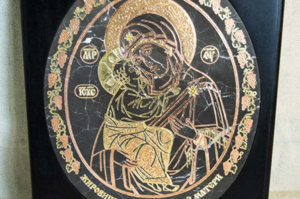 Икона Жировицкой (Жировичской) Божией Матери № 018 из мрамора, камня, изображение, фото 1