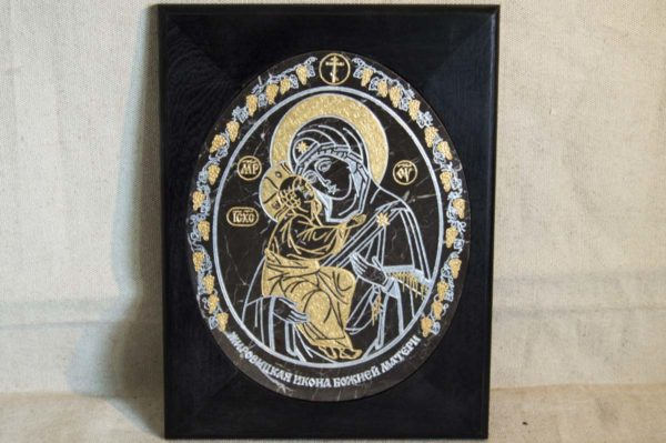Икона Жировицкой (Жировичской) Божией Матери № 019 из мрамора, камня, изображение, фото 1