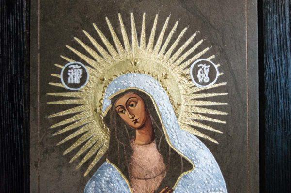 Икона Остробрамской Божией Матери № 04 из мрамора, камня, изображение, фото 4