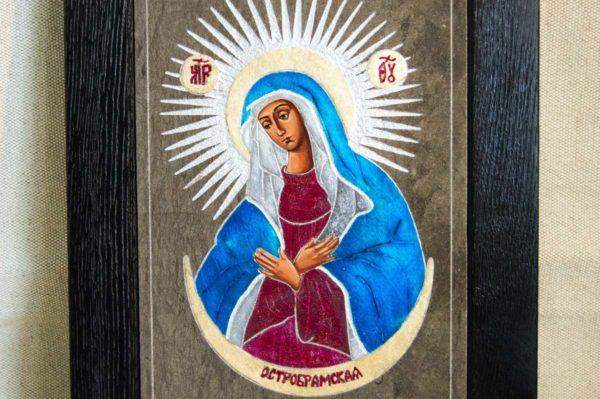 Икона Остробрамской Божией Матери № 05 из мрамора, камня, изображение, фото 4