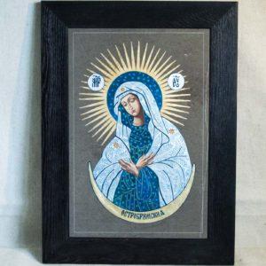 Икона Остробрамской Божией Матери № 06 из мрамора, камня, изображение, фото 3