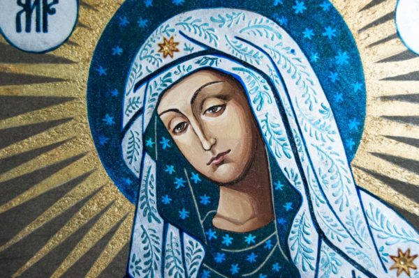 Икона Остробрамской Божией Матери № 06 из мрамора, камня, изображение, фото 4