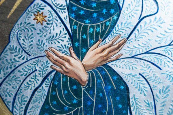 Икона Остробрамской Божией Матери № 06 из мрамора, камня, изображение, фото 2