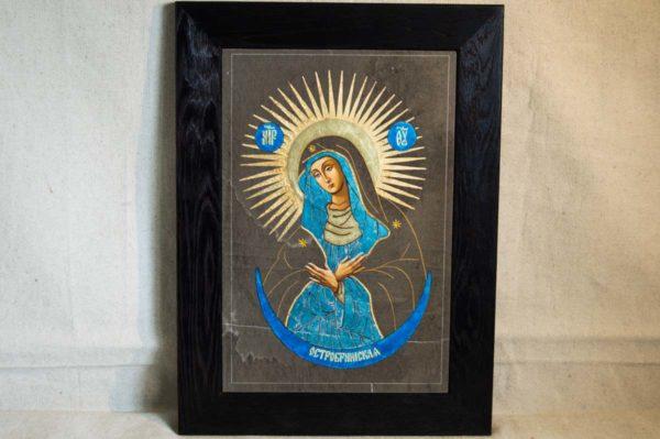 Икона Остробрамской Божией Матери № 07 из мрамора, камня, изображение, фото 4