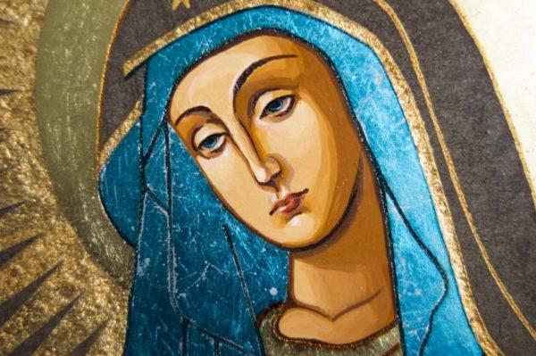 Икона Остробрамской Божией Матери № 07 из мрамора, камня, изображение, фото 3