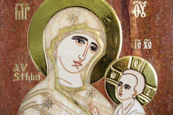 Икона Стокгольмской Божией Матери № 1-12-2 из мрамора, камня, изображение, фото 5