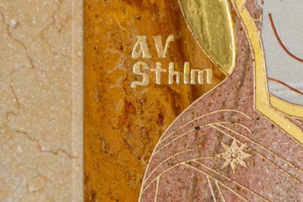 Икона Стокгольмской Божией Матери № 2-12-4 из мрамора, камня, изображение, фото 6