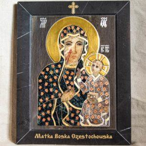 Икона Ченстоховской Божией Матери № 1-12,4 из мрамора, каталог икон, изображение, фото 1