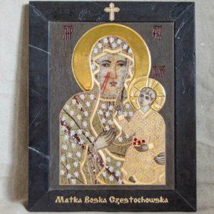 Икона Ченстоховской Божией Матери № 1-12,7 из мрамора, каталог икон, изображение, фото 1