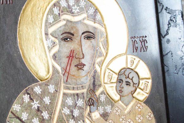 Икона Ченстоховской Божией Матери № 1-12,7 из мрамора, каталог икон, изображение, фото 3