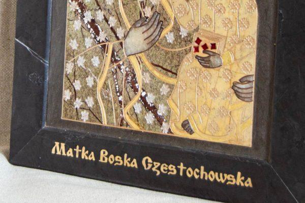 Икона Ченстоховской Божией Матери № 1-12,9 из мрамора, каталог икон, изображение, фото 1