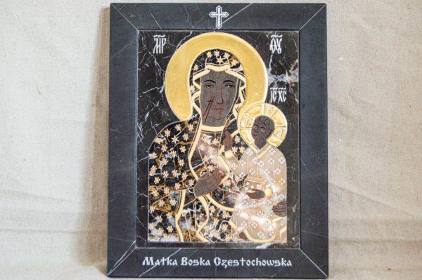 Икона Ченстоховской Божией Матери № 1-12,10 из мрамора, каталог икон, изображение, фото 1