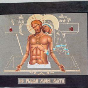 Икона Положение во Гроб № 2 из мрамора (Оранта), камня, изображение, фото 6